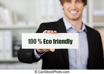 eco, επιχειρηματίας , φιλικά , κράτημα , σήμα
