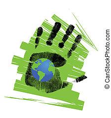 eco, σφαίρα , handprint