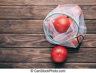 eco, τσάντα , reusable , tomatoes., φρέσκος
