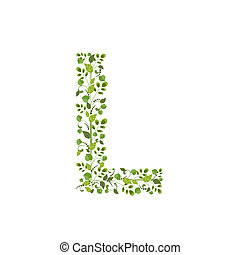 eco, весна, leaves., l, зеленый, письмо