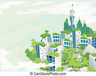 eco, городской, зеленый, иллюстрация, город