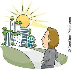 eco, город, иллюстрация, человек