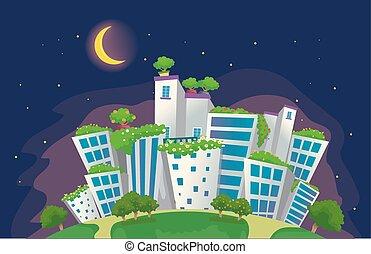 eco, город, место действия, иллюстрация, ночь