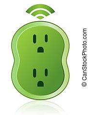 eco, умная, выход, значок, зеленый, мощность