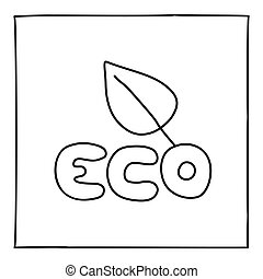 eco, いたずら書き, 葉, アイコン