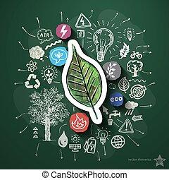 eco, エネルギー, コラージュ, ∥で∥, アイコン, 上に, 黒板