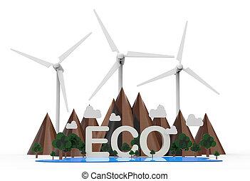 eco, エネルギー, 隔離された, 背景, 白, 回復可能