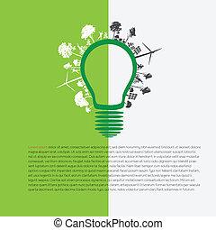 eco, エネルギー, infographic, 緑, concep