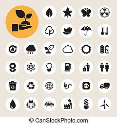 eco, エネルギー, set., アイコン