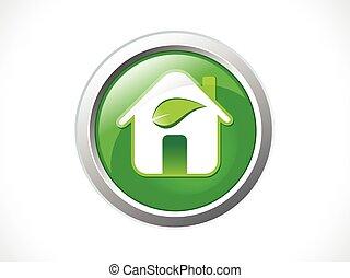 eco, グロッシー, 抽象的, アイコン, 緑, 家