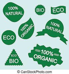 eco, ステッカー, 自然, bio, 有機体である