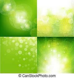 eco, セット, 緑の背景, ぼやけ