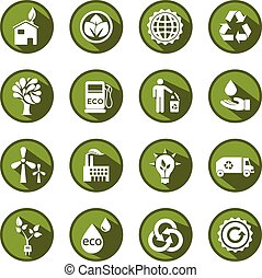 eco, セット, 緑, ベクトル, アイコン