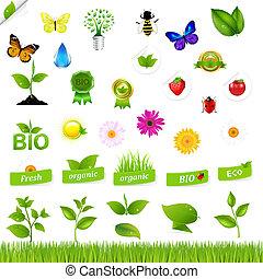 eco, セット, 自然, アイコン