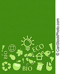 eco, テキスト, 場所, 行きなさい, 緑, カード