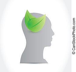 eco, デザイン, 頭, 心, イラスト