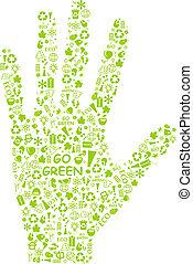 eco, パターン, 手, やし, 行きなさい, 緑