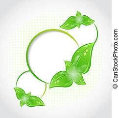 eco, フレーム, 抽象的, 緑, 葉