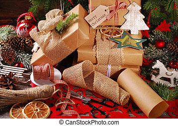 eco, プレゼント, ペーパー, 包むこと, クリスマス
