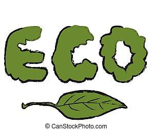 eco, ベクトル, 漫画, シンボル