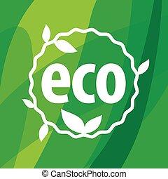 eco, ベクトル, 緑の背景, ロゴ, ラウンド