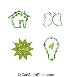 eco, ベクトル, 緑, アイコン