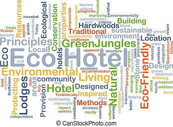 eco, ホテル, 背景, 概念