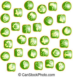 eco, ボタン, 緑, グロッシー, 金