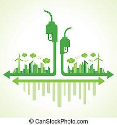eco, ポンプ, 概念, エコロジー