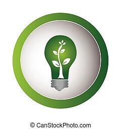 eco, ライト, フレーム, 緑, 電球, 円