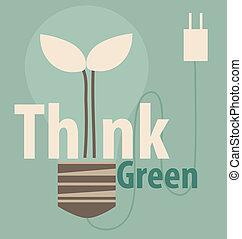 eco, ライト, concept., 木, 内側。, ベクトル, il, 緑, 電球, 考えなさい