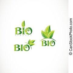 eco, ロゴ, セット, アイコン, bio