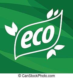 eco, ロゴ, ベクトル, 緑の背景