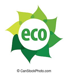 eco, ロゴ, 形, 花, ベクトル