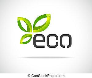 eco, ロゴ, 葉
