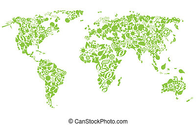 eco, 世界地図, アイコン