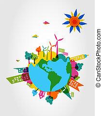 eco, 世界, concept., 味方, カラフルである