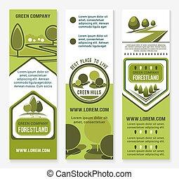 eco, 会社, ベクトル, 緑, デザイン, 旗, 風景