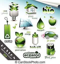 eco, 元素, 设计, 图标