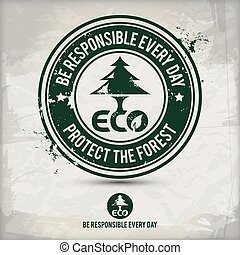 eco, 切手, 選択肢, 味方, 森林