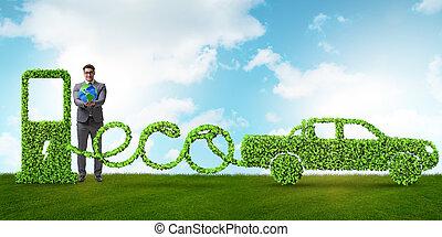 eco, 友好, 汽車, 提供動力, 所作, 可選擇 能源