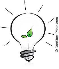 eco 友好, 燈泡, 由于, 秧苗