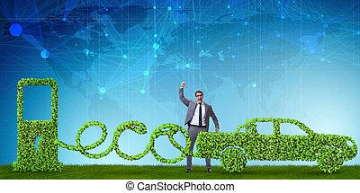 eco, 味方, 自動車, 動力を与えられる, によって, 代替エネルギー