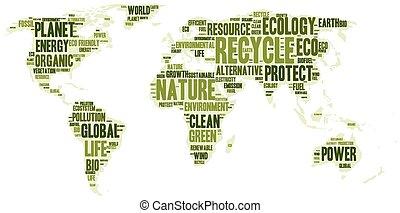 eco, 地図, 作られた, 言葉, 世界