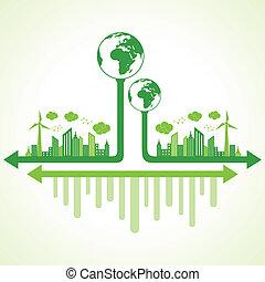 eco, 地球, 概念, エコロジー