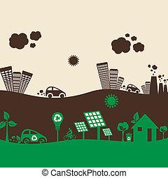 eco, 城市, 同时,, 污染, 城市