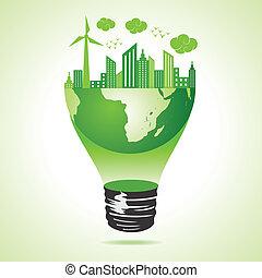 eco, 城市, 概念, 綠色的地球
