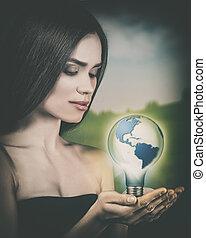eco, 女性, portrait., 可持续发展, 同时,, 可更新, 力量, 概念