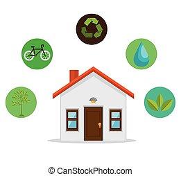 eco, 家, デザイン, 味方, 環境