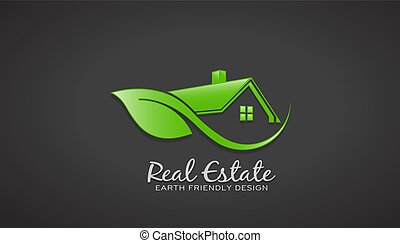 eco, 家, ベクトル, デザイン, 緑, logo., 味方